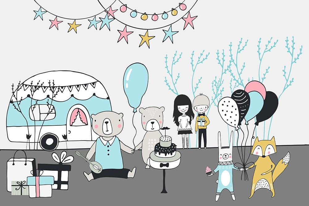 tapeta dziecięca przyjęcie urodzinowe