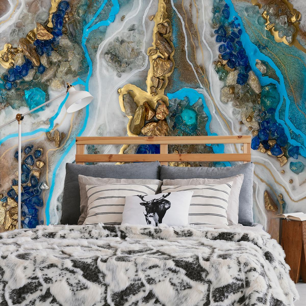 dekoracja do sypialni z motywem niebieskiego