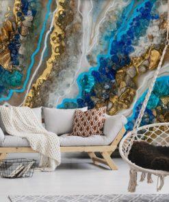 dekoracja niebieska jako tapeta