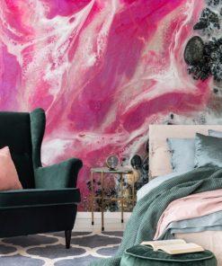 różowa fototapeta jako dekoracja