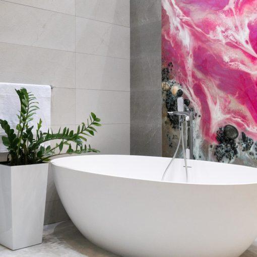 różowa dekoracja do łazienki