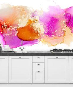 dekoracja ścienna jako plamki różowe oraz pomarańczowe