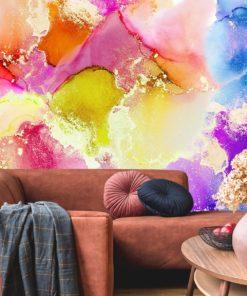 kolorowe akwarelowe plany na fototapecie abstrakcyjnej