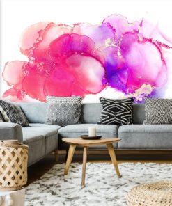 salon dekorowany tapetą w rózu