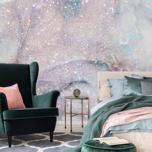 fototapeta do sypialni z fioletową imitacją marmuru