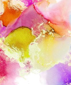 fototapeta akwarelowa z zótym, rózowym i fioletowym kolorem