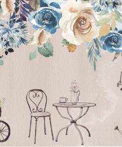 fototapeta z kolorowymi kwiatami i motywem retro