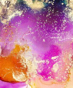 akwarelowa kolorowa zółta i fioletowa fototapeta