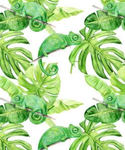 fototapeta zielona z monsterą i kameleonem