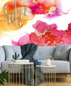 Pomarańczowo-różowa abstrakcja na tapecie
