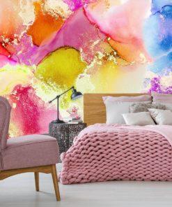 abstrakcyjne pastelowe wzory na fototapecie do sypialni