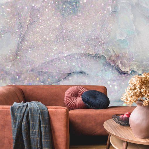 tapeta do salonu z brokatowym marmurkowym wzorem