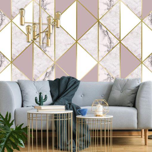 Delikatny biało-różowy marmur jako tapeta na ścianę