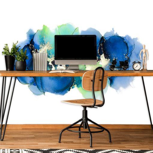 tapeta do biura z abstrakcją w kolorze niebieskim