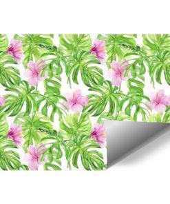 Fototapeta z różowymi tropikalnymi kwiatuszkami