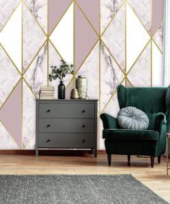 Dekoracja z motywem biało-różowego marmuru na ścianę