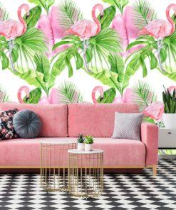 Flamingi i tropikalne liście na fototapecie