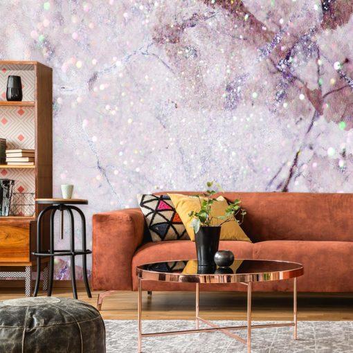 różowa dekoracja ścienna z motywem marmurka na fototapecie