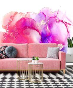 różowa fototapeta do salonu