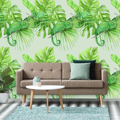 Fototapeta z kameleonami na tle tropikalnych liści
