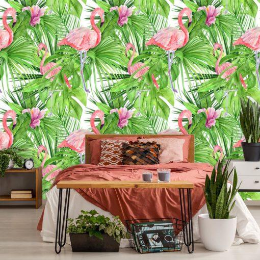 tapeta z flamingami