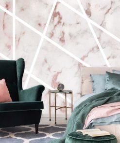 ścienna tapeta z motywem różowego marmurka