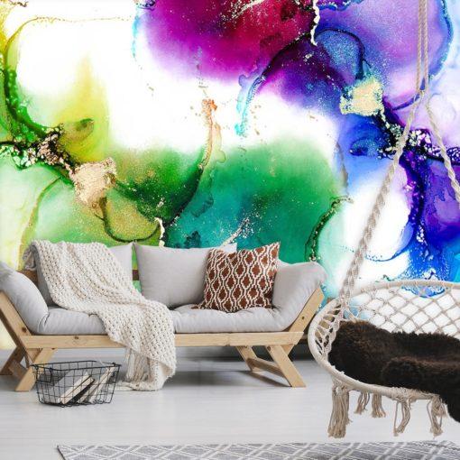 Fototapeta do salonu z motywem akwarelowych plam