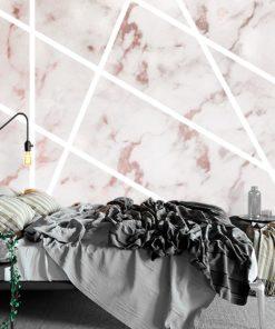różowy marmurek i białe paski jako fototapeta ścienna