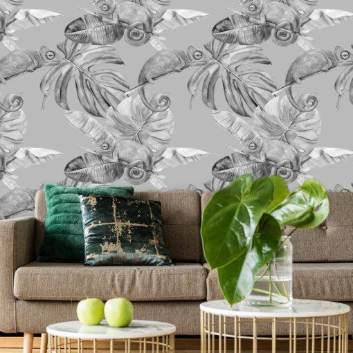 dekoracja biało-czarna z motywem kameleona