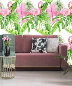 Tapeta z flamingami na tle tropikalnych liści