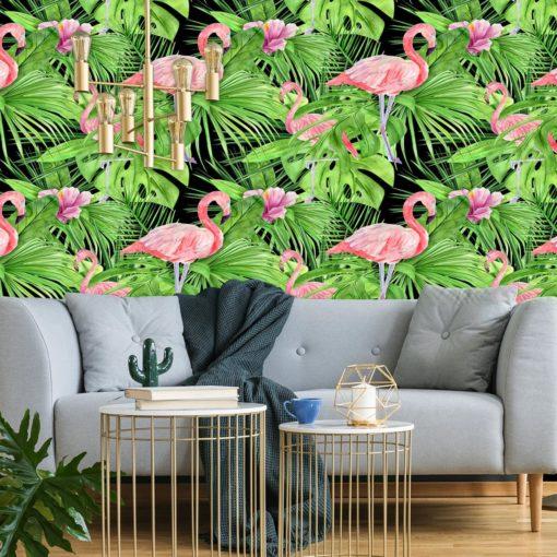 tropiki na zielonym tle z liści - fototapeta