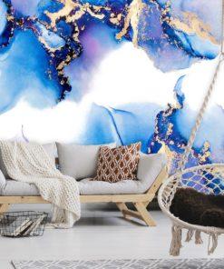 niebieska dekoracja jako tapeta