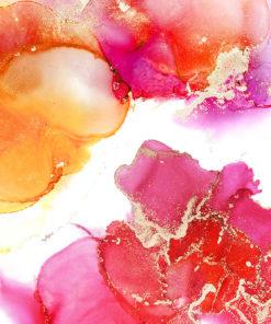 Urocza akwarelowa fototapeta w różu i pomarańczu