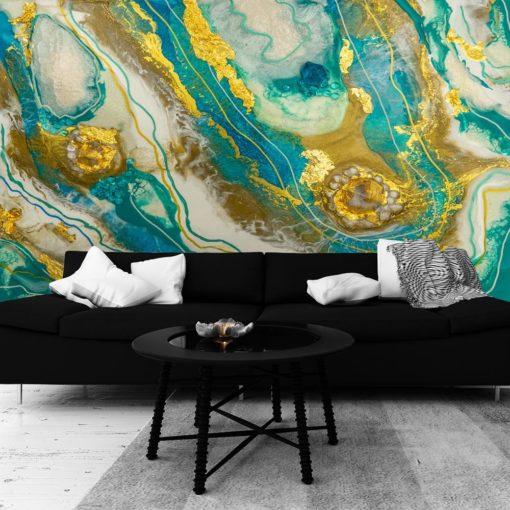 Inspiracja do salonu fototapeta z abstrakcją geode art