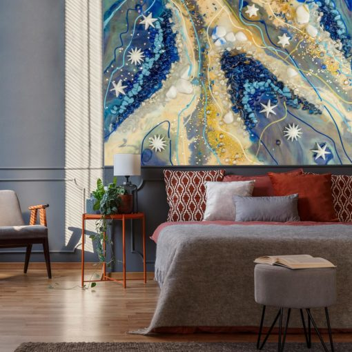 tapeta w pokoju , przedpokoju do sypialni z motywem nieba i gwiazd