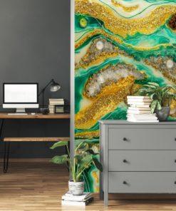 Dekoracja geode art żółto zielona - fototapeta do biura