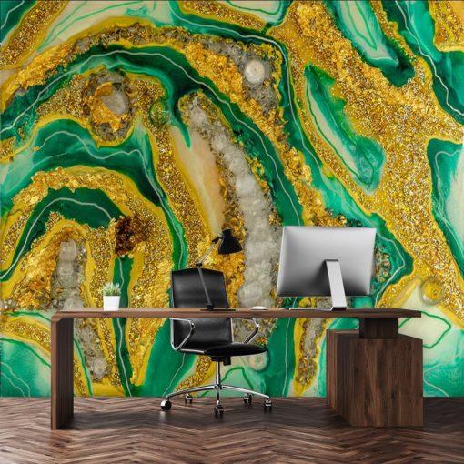 Fototapeta kompozycja malarska żółto zielona do biura