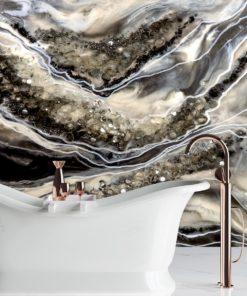 Dekoracja do łazienki fototapeta geode art czarno biała abstrakcja