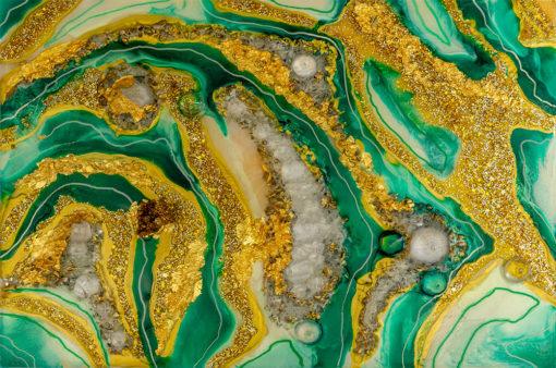 fototapeta żółta abstrakcja z zielenią i dodatkiem