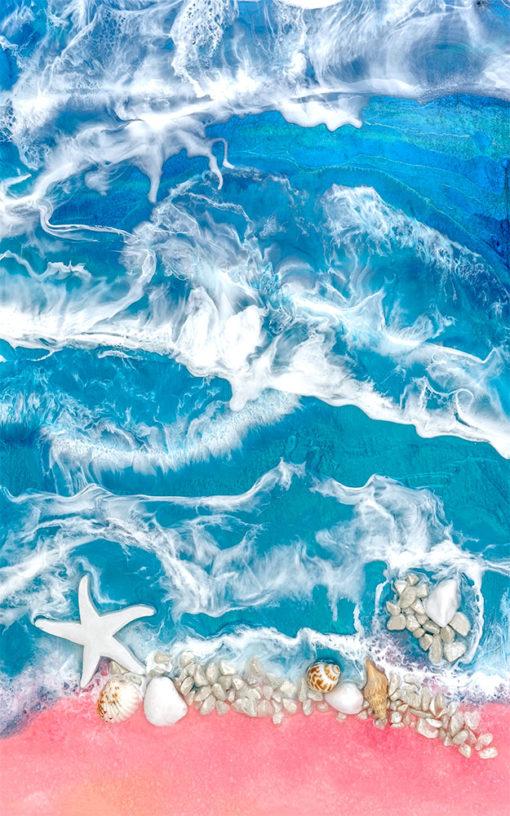 Fototapeta żywica epoksydowa morze muszle fale