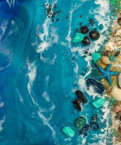 fototapeta żywiczna fale kamienie morze zielono niebieska