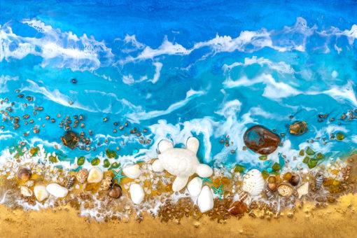 fototapeta reprodukcja malarstwa żywicznego z morzem