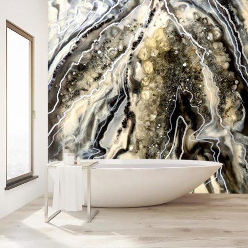 Dekoracja do łazienki fototapeta czarno biała abstrakcja sztuka żywiczna