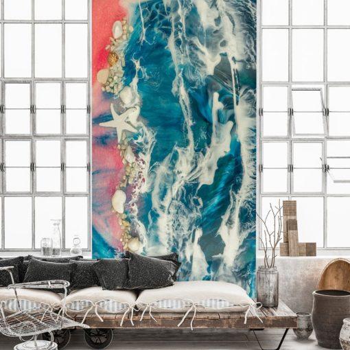 Fototapeta do salonu - dekoracja żywiczna morze muszle fale