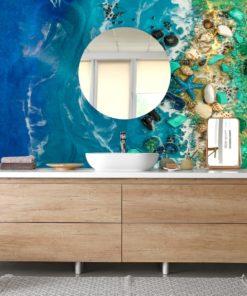Fototapeta morski motyw fale kamienie dekoracja do łazienki