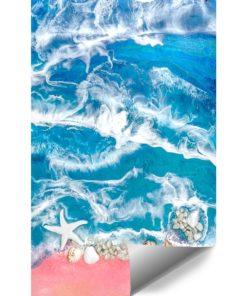 Fototapeta kompozycja malarska niebieskie morze i muszle