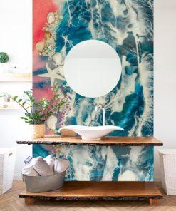 Aranżacja do łazienki fototapeta różowe morze i muszle