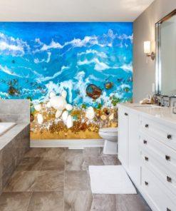 Fototapeta do łazienki złota plaża niebieska woda