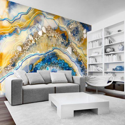 fototapeta do salonu geode art niebiesko złota abstrakcja