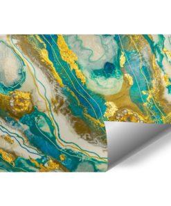 fototapeta kompozycja malarska turkusowo złota z kamieniami